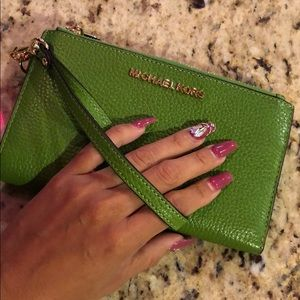 Michael Kors green wristlet